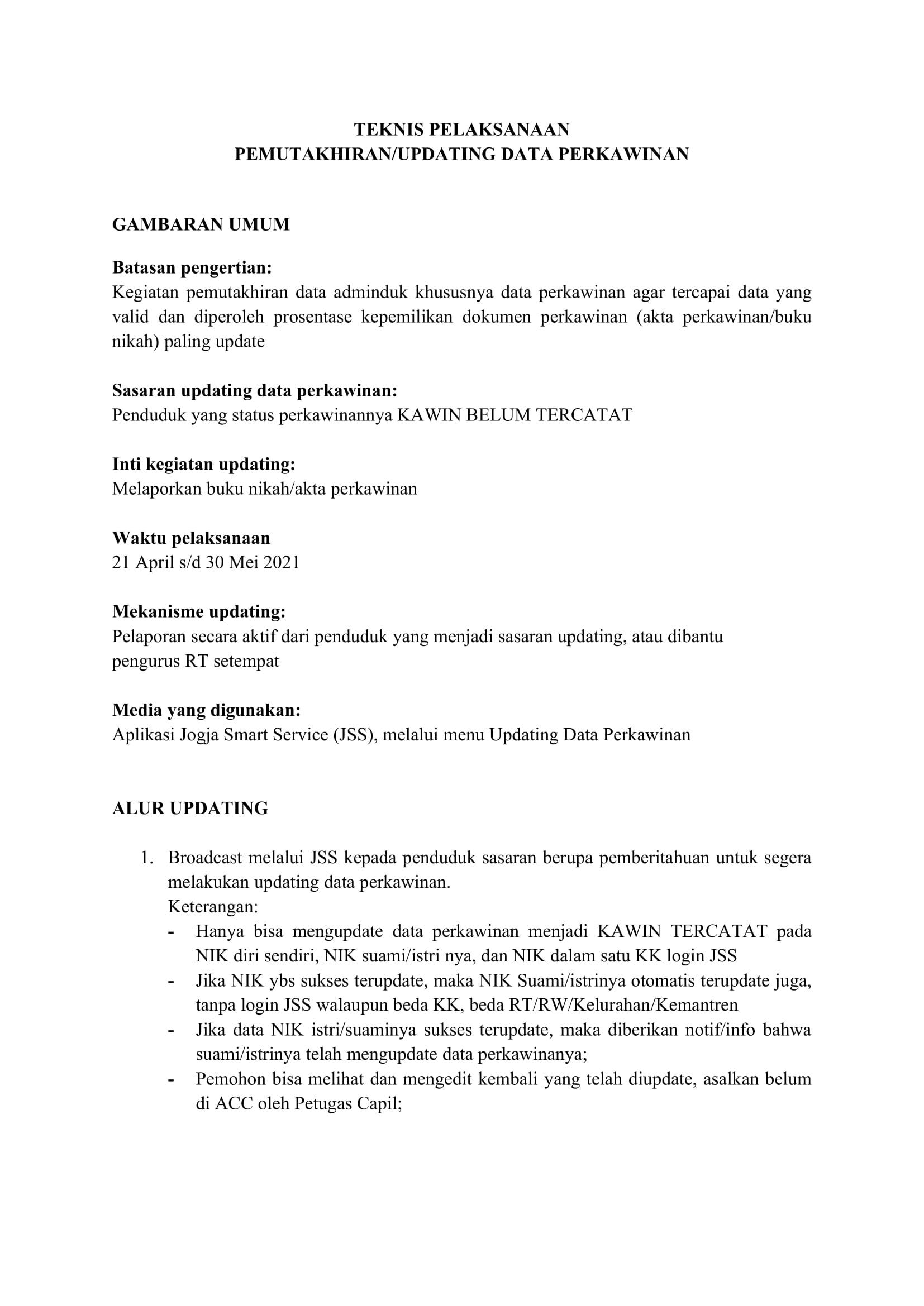 PEMUTAKHIRAN STATUS PERKAWINAN PADA KK (UPDATING DATA) BAGIAN 1